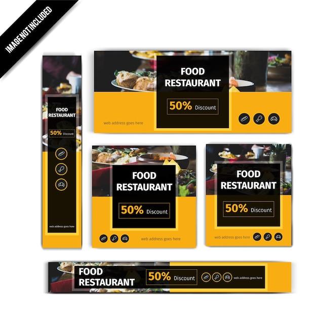 Set di banner ristorante cibo giallo Vettore Premium