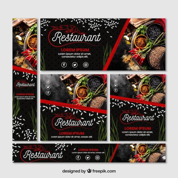 Set di banner ristorante con foto Vettore gratuito