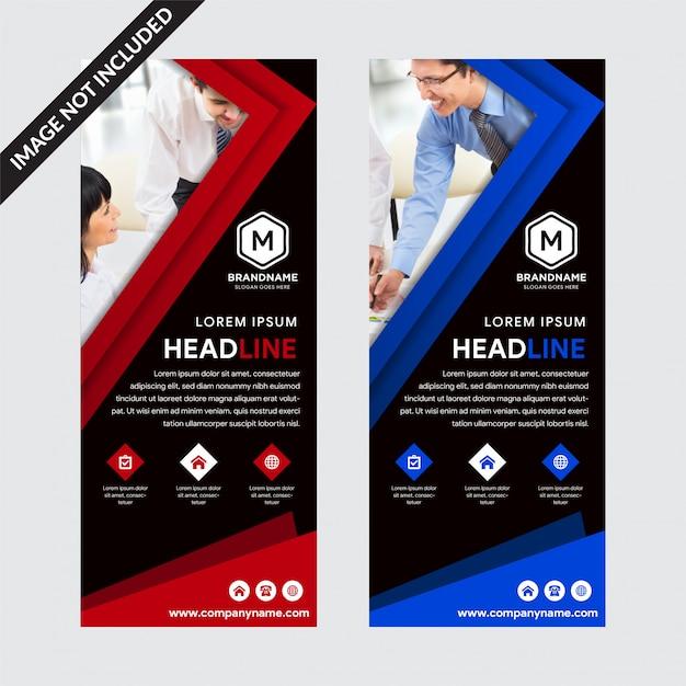 Set di banner roll-up sfondo nero modelli con elementi rossi e blu Vettore Premium