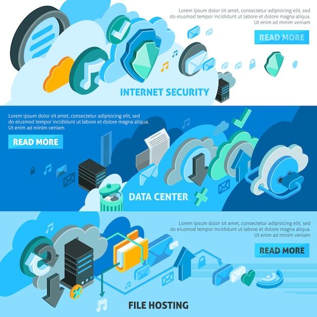 Set di banner servizi cloud Vettore gratuito