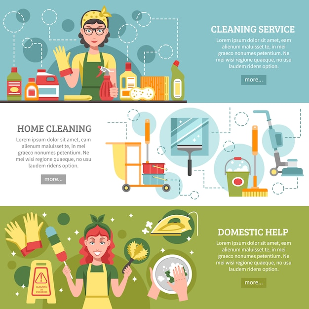 Set di banner servizio di pulizia Vettore gratuito