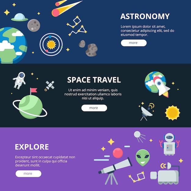 Set di banner spaziali, luna e sistema solare con pianeti con satelliti vicino a terra e set di banner web di razzi o navette spaziali Vettore Premium