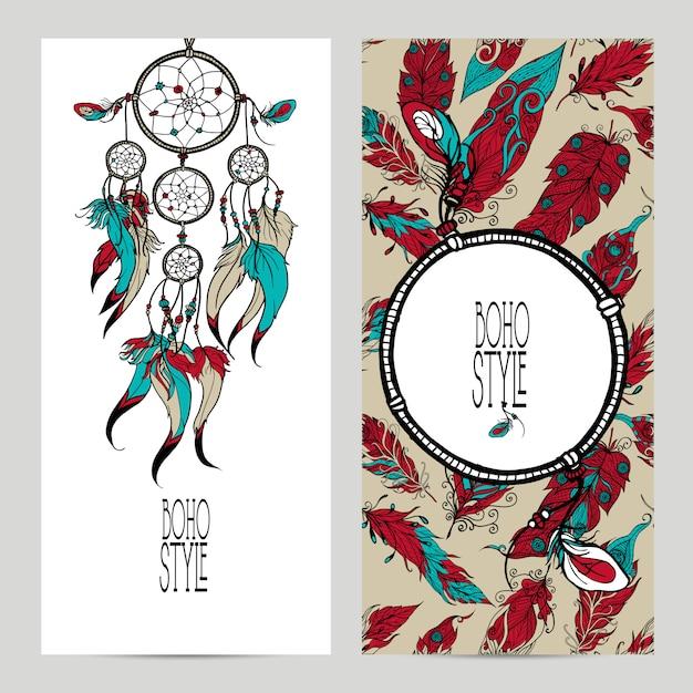 Set di banner stile boho Vettore gratuito