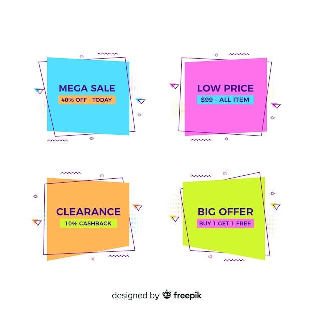 Set di banner stile memphis di vendita Vettore gratuito