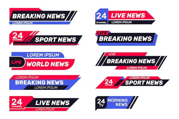Set di banner tv di ultime notizie Vettore gratuito