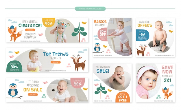 Set di banner vendita negozio bambino - simpatici animali della foresta Vettore Premium