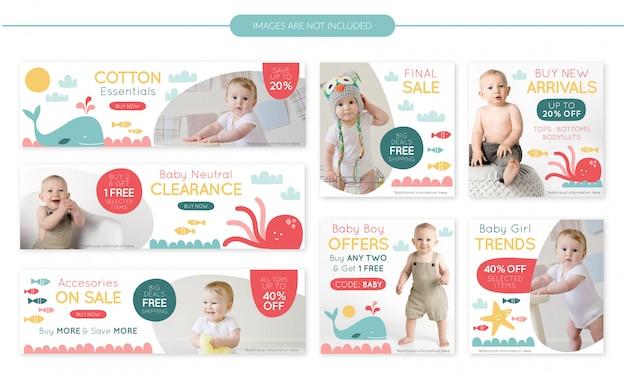 Set di banner vendita negozio bambino Vettore Premium