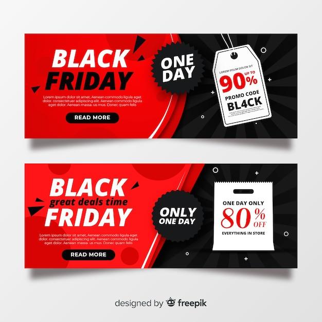 Set di banner venerdì nero design piatto Vettore gratuito