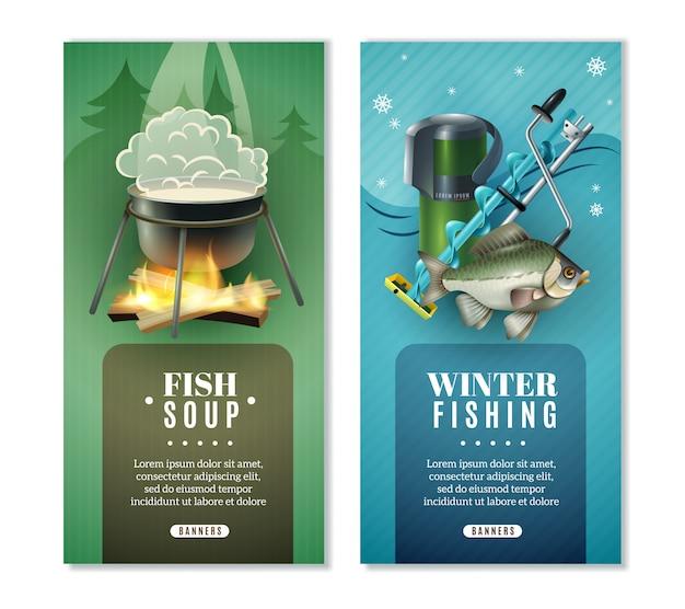 Set di banner verticale di pesca invernale 2 Vettore gratuito