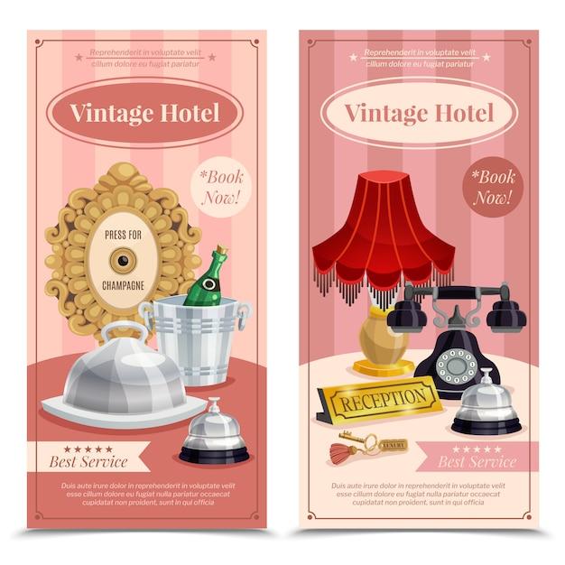 Set di banner verticale hotel vintage Vettore gratuito