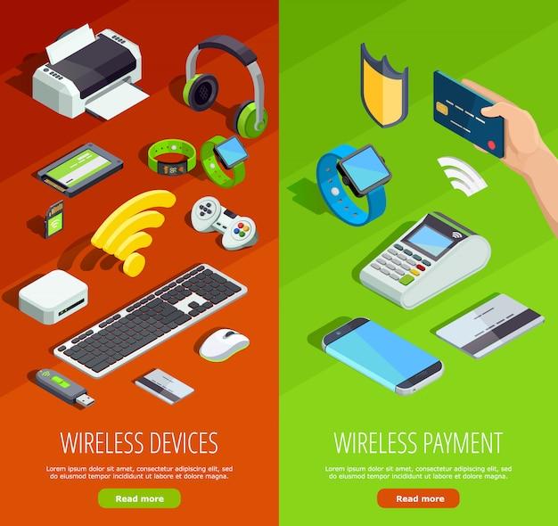 Set di banner verticale isometrica tecnologia wireless Vettore gratuito