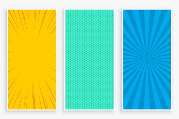 Set di banner verticali in stile fumetto a tre colori Vettore gratuito