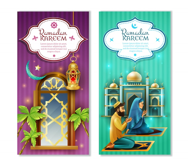 Set di banner verticali ramadan kareem 2 Vettore gratuito