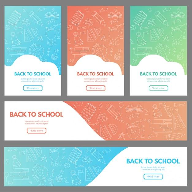 Set di banner web con materiale scolastico Vettore Premium
