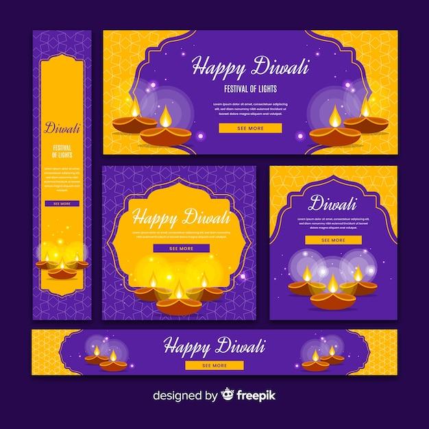 Set di banner web design piatto diwali Vettore gratuito