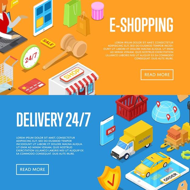 Set di banner web isometrici 3d per lo shopping online 24/7 Vettore Premium