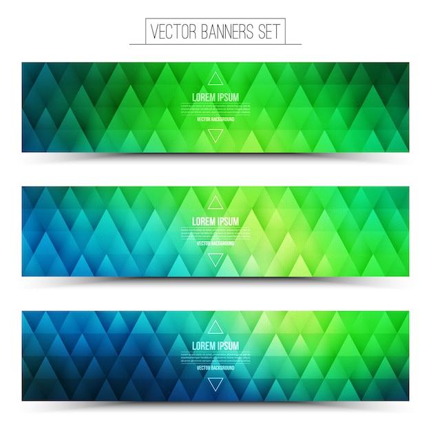 Set di banner web verde blu di vettore Vettore Premium
