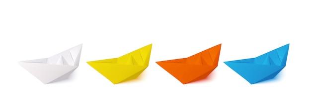 Set di barche di carta Vettore Premium