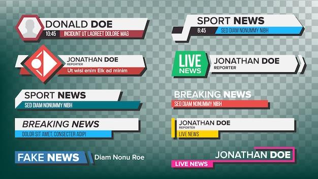 Set di barre di notizie tv Vettore Premium