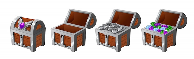 Set di bauli in legno argento con monete e diamanti per il gioco Vettore Premium