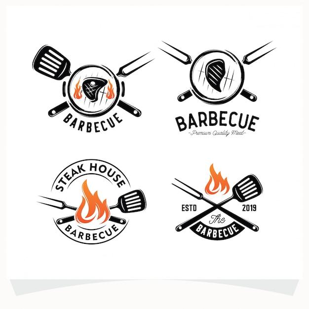 Set di bbq steak grill house logo Vettore Premium