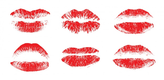 Set di belle labbra femminili Vettore Premium
