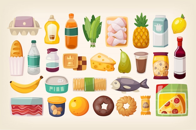 Set di beni comuni e prodotti di uso quotidiano Vettore Premium