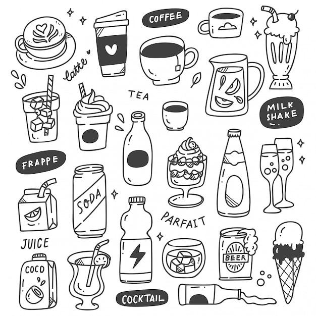 Set di bevande disegnate a mano doodle Vettore Premium