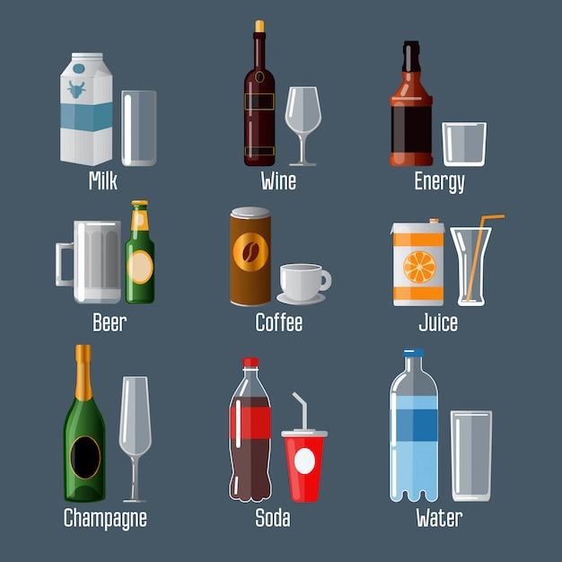 Set di bevande diverse in ware Vettore Premium