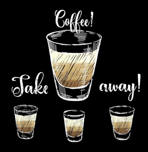 Set di bicchieri di caff sfondo scaricare vettori gratis for Bicchieri caffe