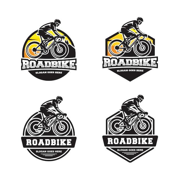 Set di biciclette bici da strada logo Vettore Premium