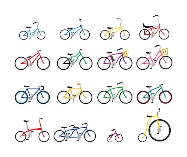 Set di biciclette colorate con varie dimensioni e forma Vettore Premium