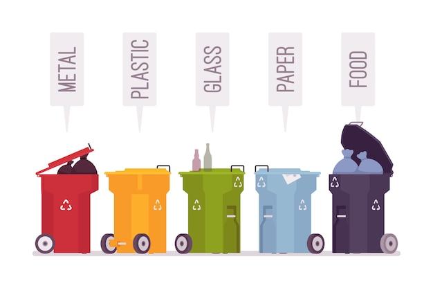 Set di bidoni della spazzatura con metallo, plastica, vetro, carta, cibo Vettore Premium