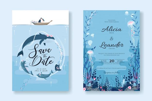 Set di biglietti d'invito di nozze, salva il modello di data. sealife, sotto l'immagine del mare. Vettore Premium