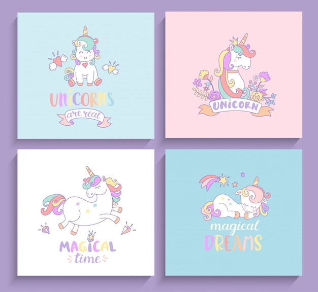 Set Di Biglietti Di Auguri Magici Unicorni Scaricare