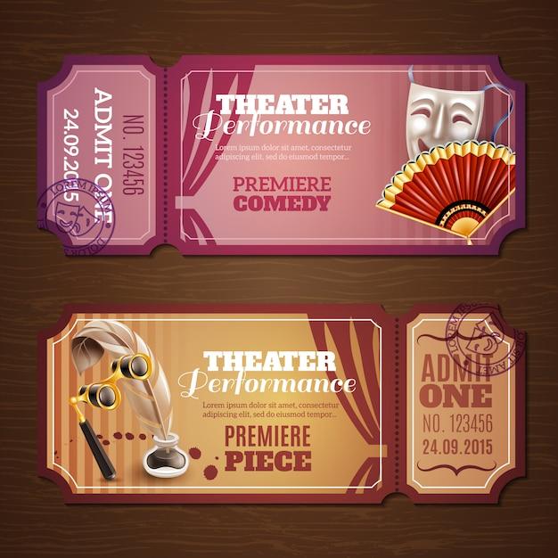 Set di biglietti per il teatro Vettore gratuito