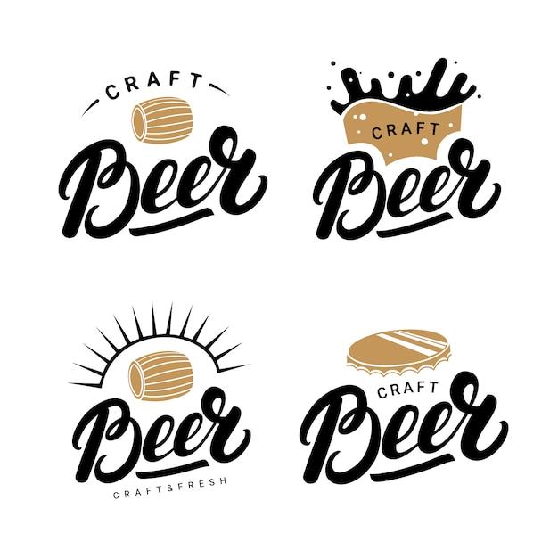Set di birra scritta a mano scritte loghi Vettore Premium