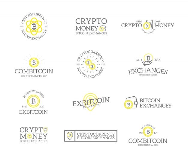 Set di bitcoin e logo di criptovaluta. Vettore Premium