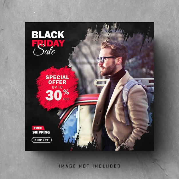 Set di black post instagram post o banner quadrato Vettore Premium