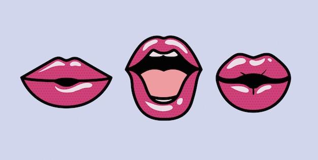 Set di bocche stili di arte pop Vettore Premium
