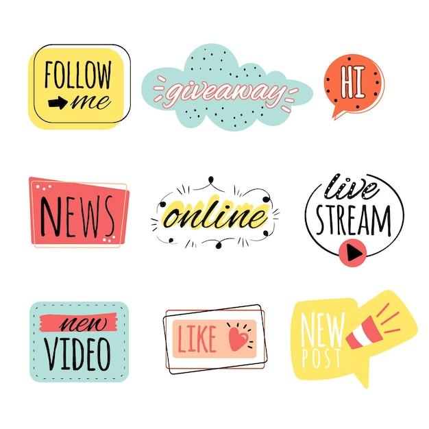 Set di bolle di gergo social media Vettore gratuito