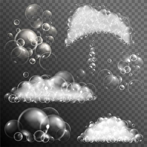 Set di bolle di sapone trasparenti realistici. Vettore Premium