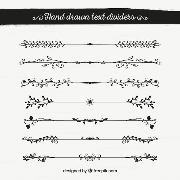 Set di bordi decorativi disegnati a mano scaricare for Bordi decorativi