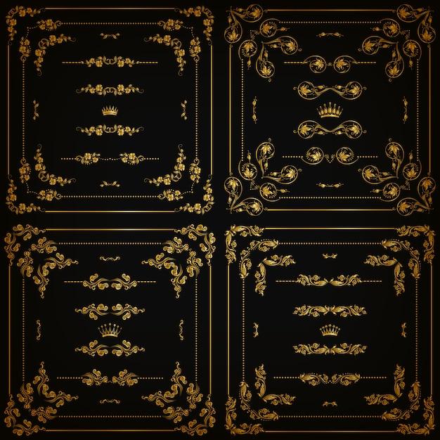 Set di bordi decorativi in oro, cornice Vettore Premium
