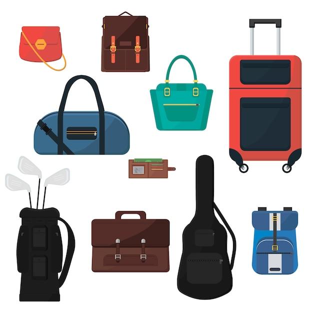 Set di borse. valigia su ruote, borsette da donna, custodia per chitarra, sacca da golf, zaino da scolaretta, valigetta da uomo, portafoglio. accessori colorati Vettore Premium