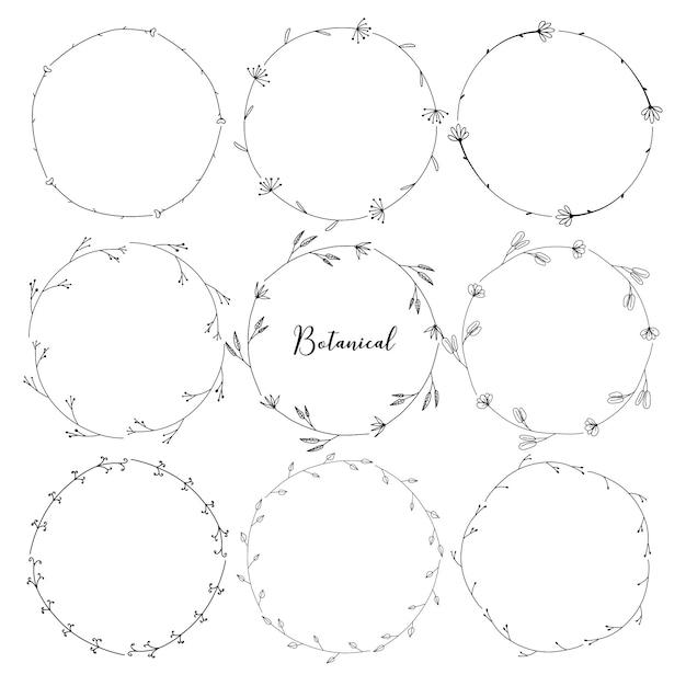 Set di botanico cornice rotonda, fiori disegnati a mano, composizione botanica, elemento decorativo per carta di inviti Vettore Premium