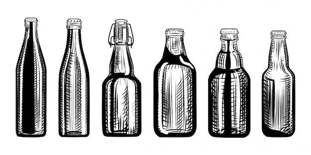 Set di bottiglie di birra. Vettore Premium