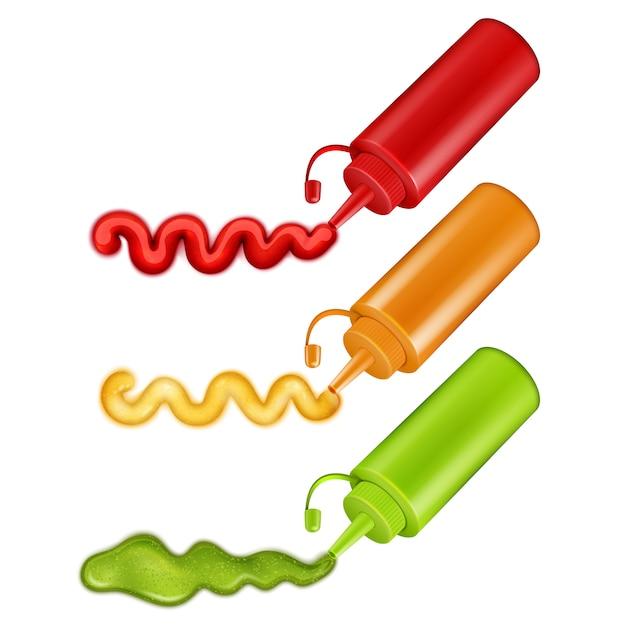 Set di bottiglie di plastica colorate Vettore gratuito