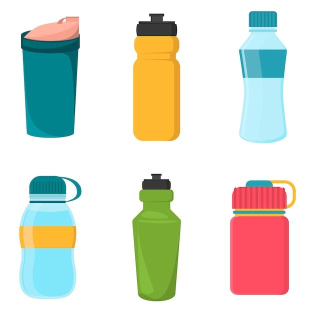 Set di bottiglie di plastica vuote della bicicletta per l'acqua Vettore Premium