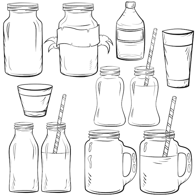 Set di bottiglie di vetro per frullato e latte, yogurt e juse fresca, per cocktail disintossicanti. con paglia. Vettore Premium